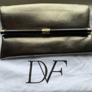 DVF Silver Metallic Envelope Clutch. Like new!